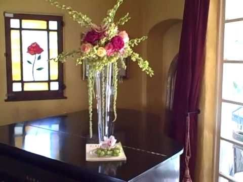 Impressive Fruit and Flowers Tall Wedding Centerpiece With Green ...