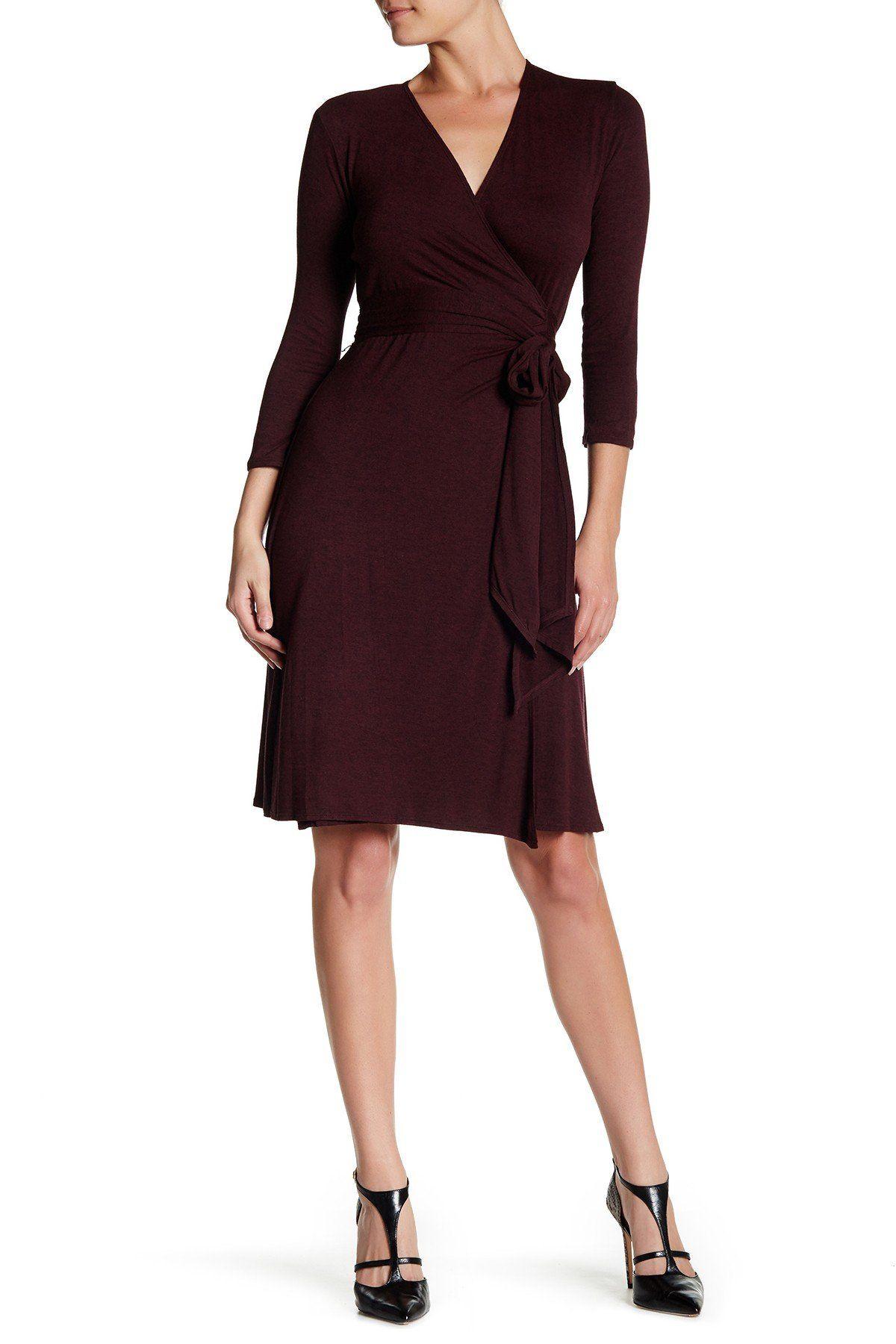 3/4 Length Sleeve Knit Wrap Dress Wrap dress, White v