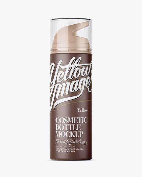Matte Cream Bottle with Transparent Cap Mockup – Front View
