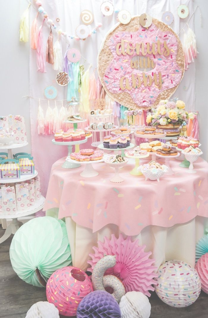 Pastel Donut Birthday Party is part of Birthday Party Clothes - Ready for a party that will have you drooling ! Check out this darling Pastel Donut Birthday Party here at Kara's Party Ideas  It's fabulous!