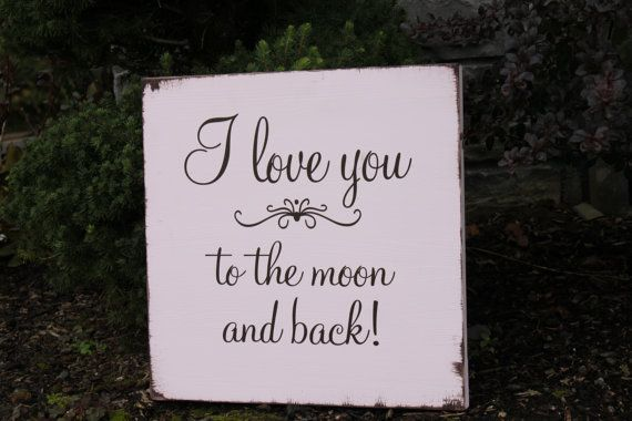 Pink and Brown Wood Sign I love you to the by inspiretheinside, $26.00