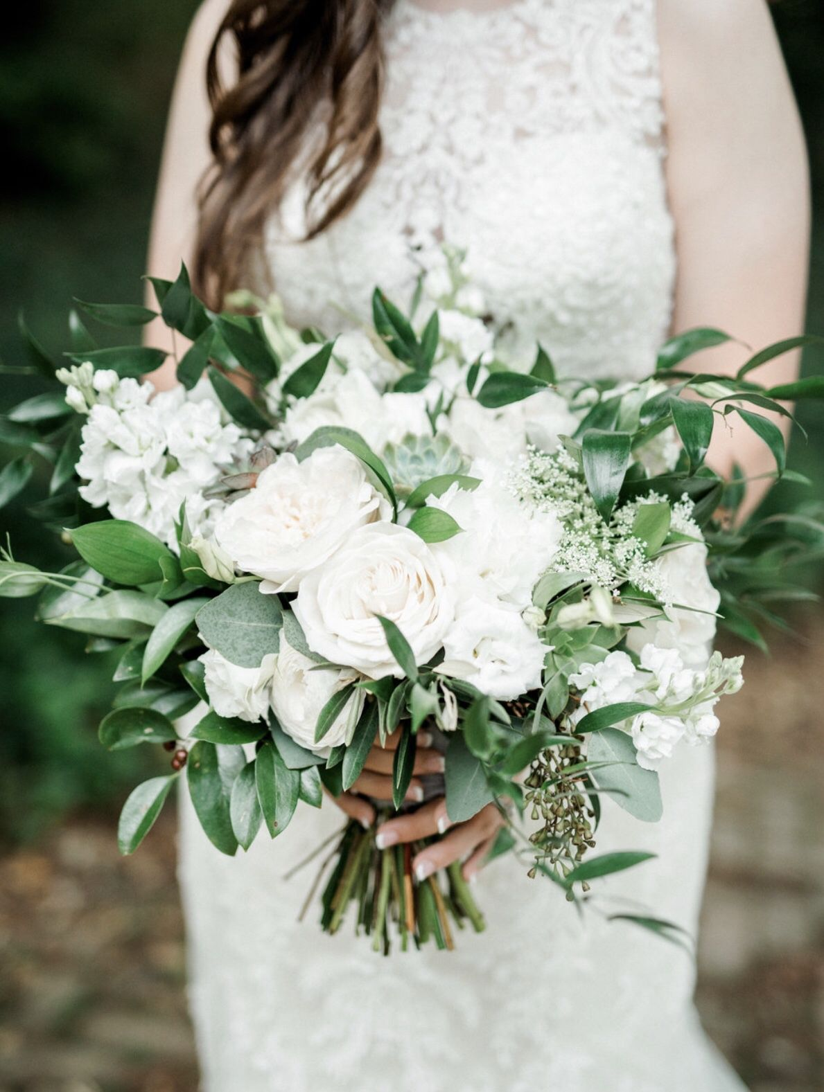 Organic White Bridal Bouquet #whitebridalbouquets
