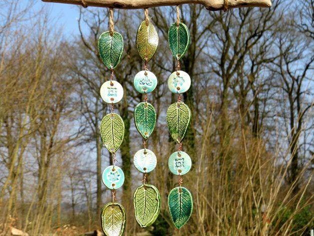 Gartendekoration keramik windspiel klangspiel bl tter for Gartendekoration