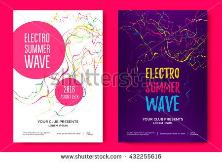 Electro Summer Wave Music Poster Club Music Flyer Abstract
