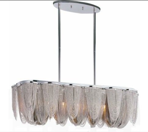 Silver Chain Single Pendant Lighting Linear Pendant Lighting Large Pendant Lighting