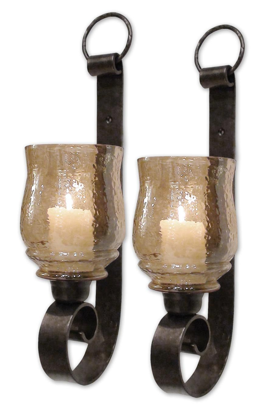 Joselyn small wall sconces set by uttermost amber glass wall