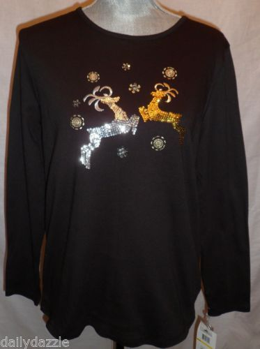 NWT's Black Christmas Shirt w/ Sequin Reindeer Silver & Gold Reindeer Snowflakes