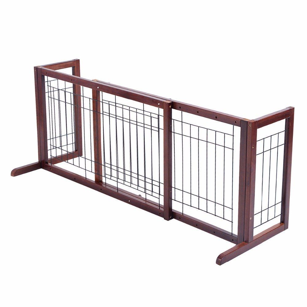 Wood Dog Gate Adjustable Indoor Solid Construction cat Fence Playpen ...