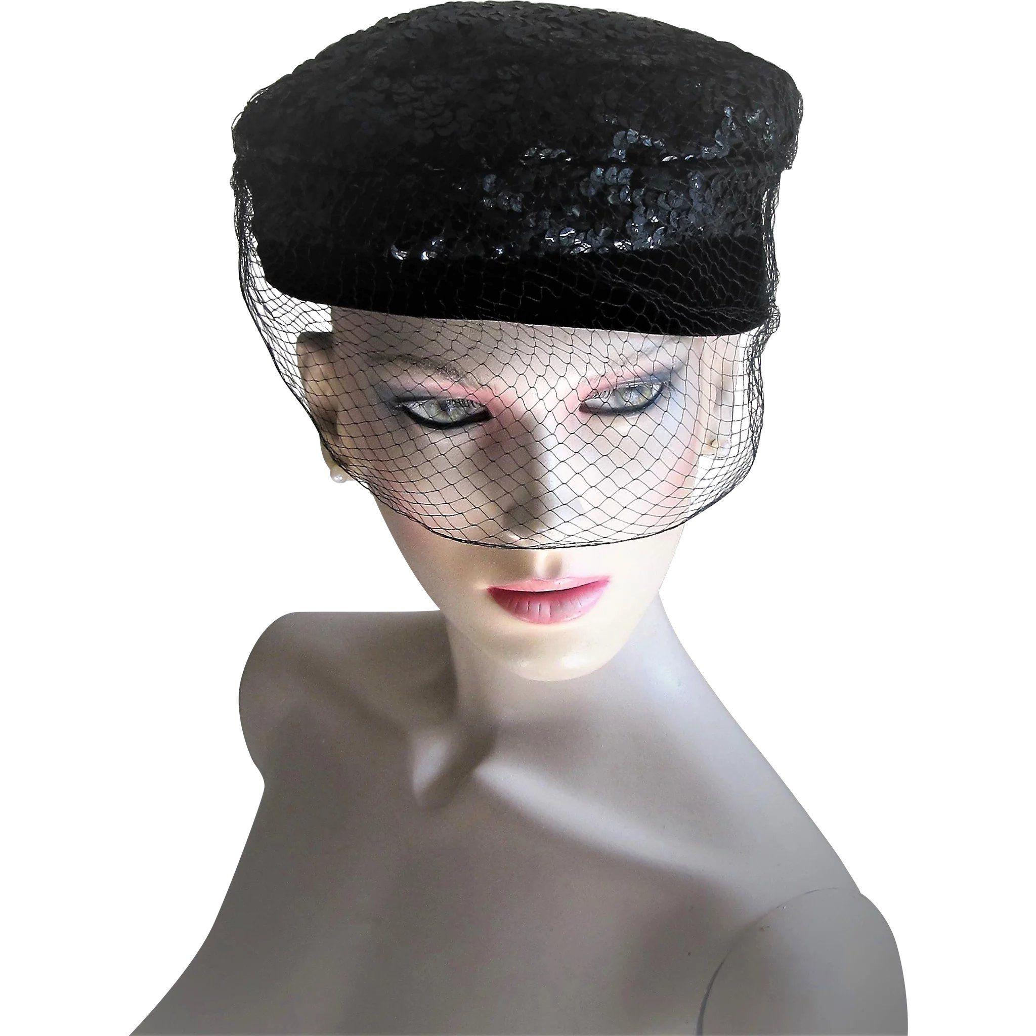 1950 s Hollywood Style Black Velvet and Sequin Pill Box Hat  b3c9eecd72d