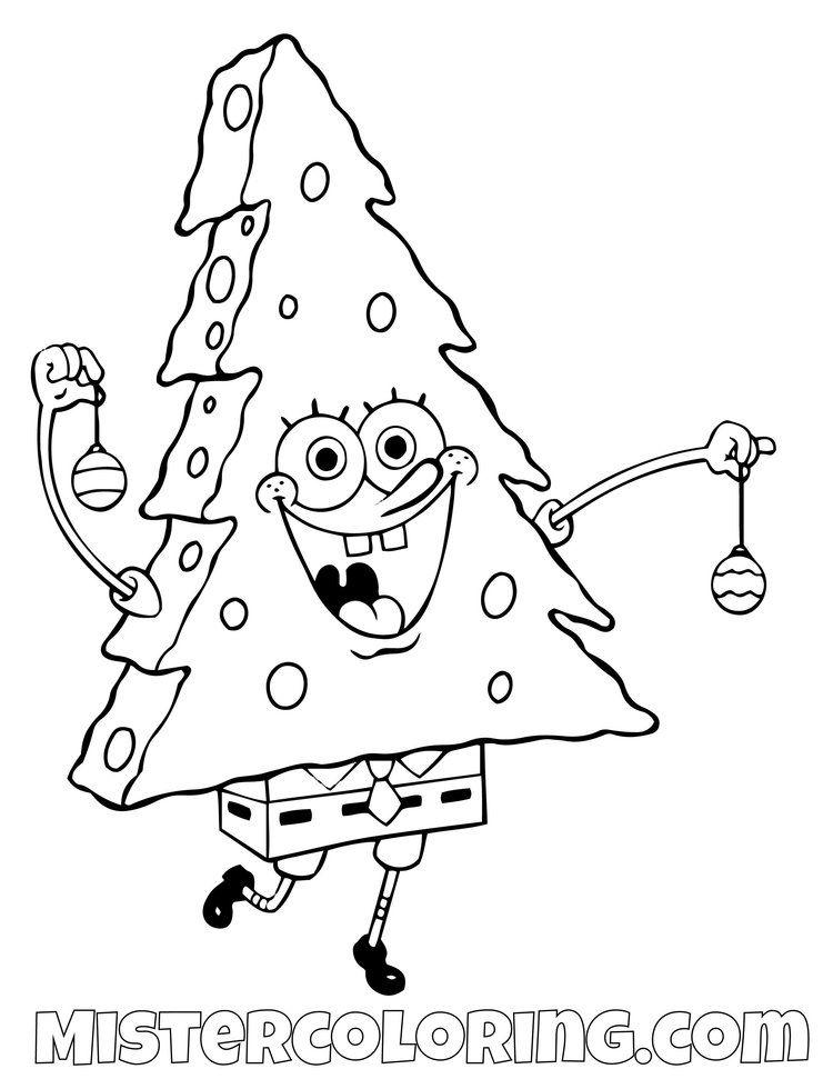 Spongebob Squarepants Coloring Pages For Kids Mister Coloring Spongebob Christmas Christmas Coloring Pages Coloring Pages