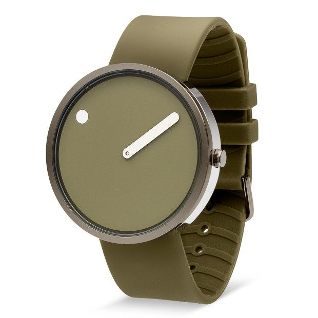 Produced for the watch branch of Rosendahl Design Group, Picto in gunmetal/green comes with a hardened mineral glass lens and a rubber strap.