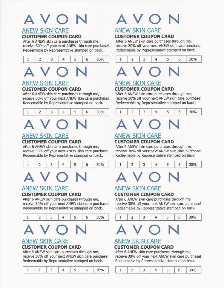Avon ANEW Skin Care Customer Coupon Card in 2020 Avon