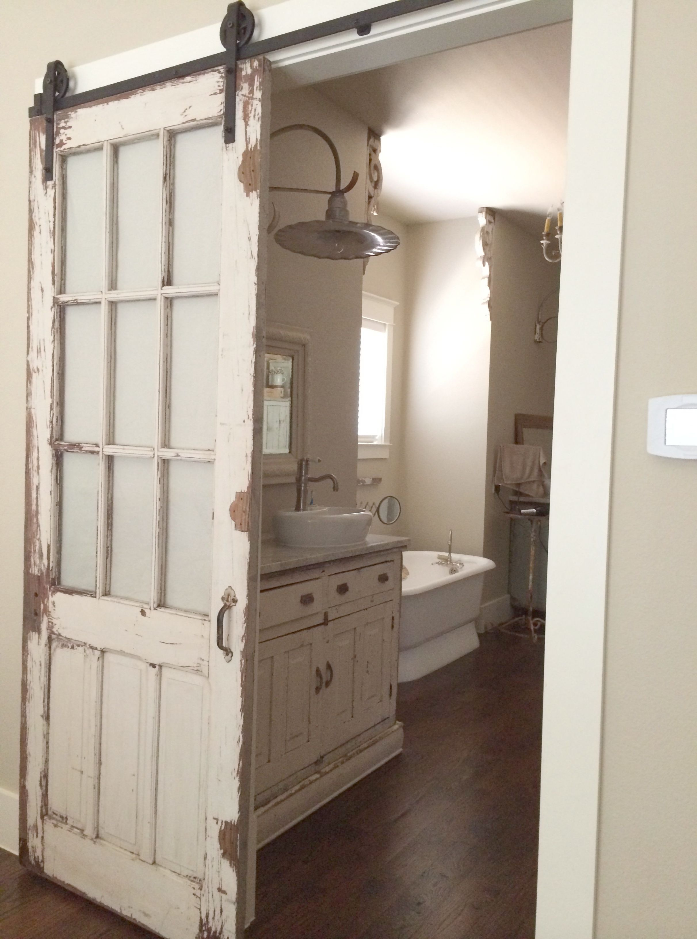 Old Chippy Distressed Door Turned Barn Door Style Setupwith Matching