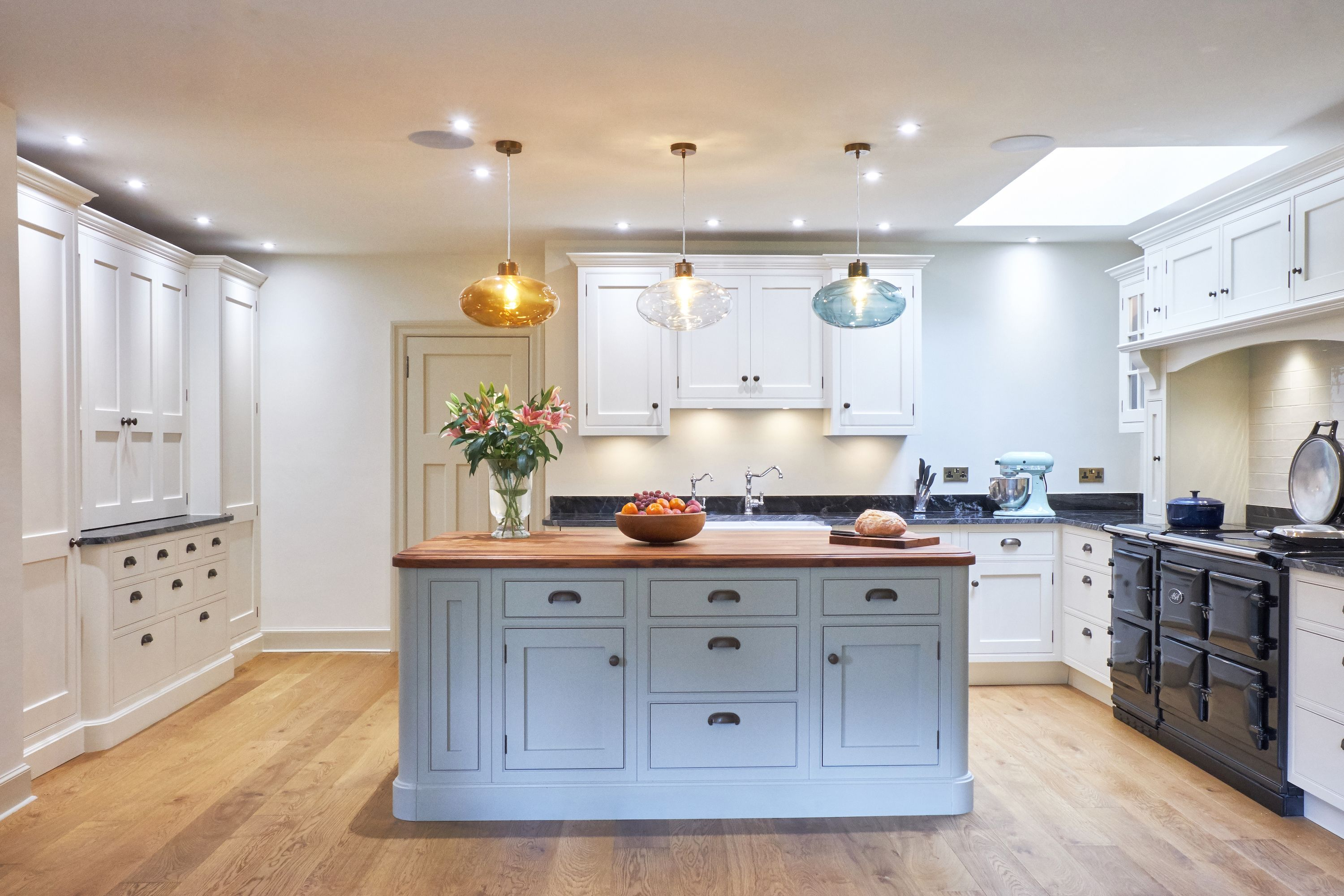 Bespoke Kitchen Remodel, Cream And Blue, Kitchen Island, Aga, Farrow And  Ball