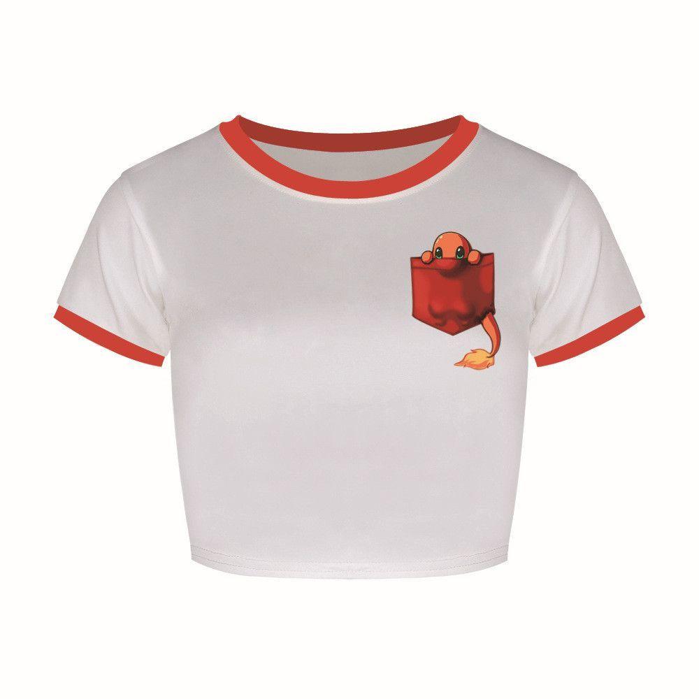 T Shirt Women Summer Harajuku Crop Top Kawaii Pokemon Charmander Pet Printing Tight Game Half Lo Shi T-shirt