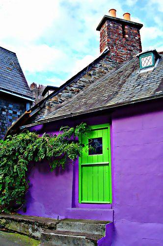 irish cottage in green and purple
