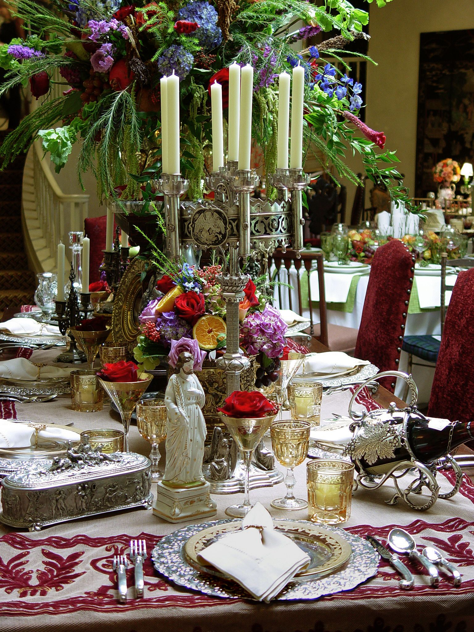 Pin By Inessa Stewart S Antiques On Antique Christmas Inspirations Christmas Decorations Dinner Table Christmas Dinner Table Christmas Table Settings