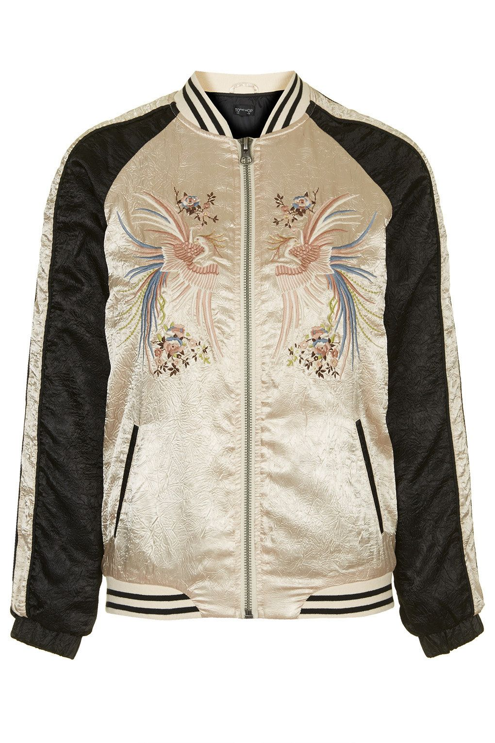 Sateen Embroidered Bomber - Jackets & Coats - Clothing | Topshop ...