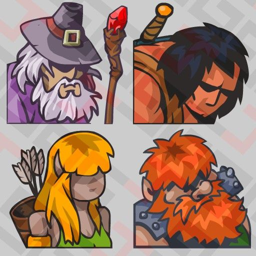 4 Original fantasy avatars to use in your game. 512X512 png image each one.