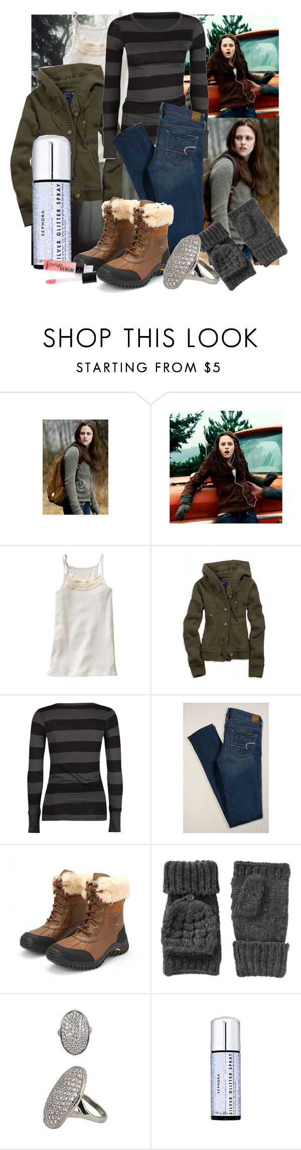 """""""Halloween Countdown: Bella, Twilight"""" by occultette ❤ liked on Polyvore featuring B. Ella, Gap, American Eagle Outfitters, Billabong, UGG Australia, Old Navy, Sephora Collection, DuWop, swan and twilight"""