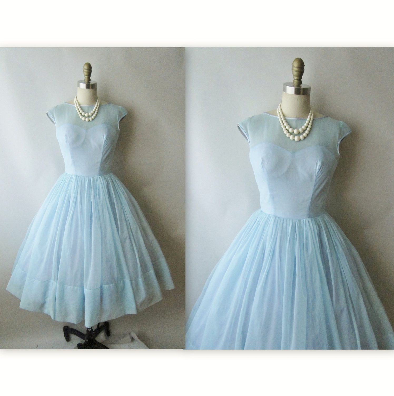 50\'s Chiffon Dress // Vintage 1950\'s Baby Blue Chiffon Illusion Full ...