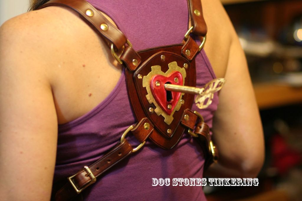 Haeart and key steampunk harness