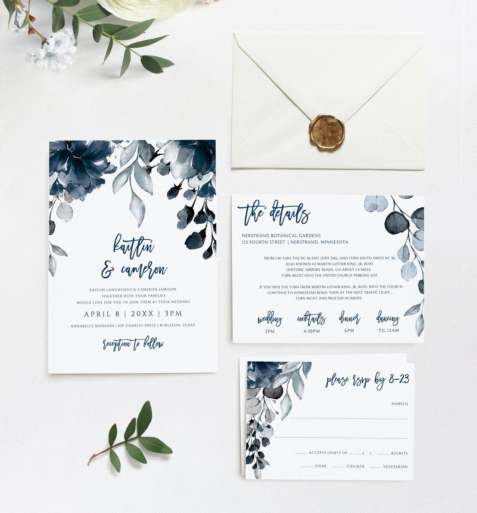 Navy Blue Floral Wedding Invitation Template Suite Set  4 x 4