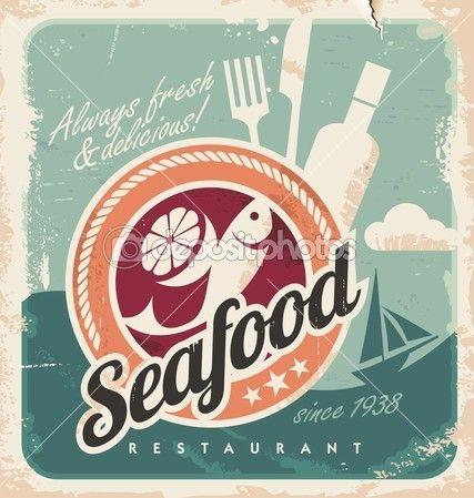 Cartel Vintage Para Restaurante De Mariscos Retro Poster Fischrestaurant Bilder
