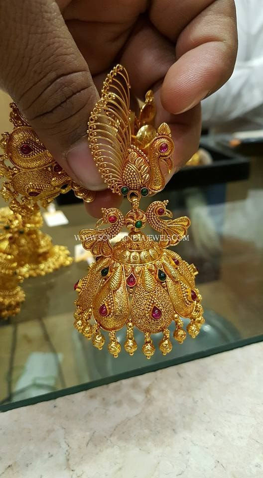Gorgeous Gold Peacock Jhumka | Peacocks, Gold and Ear rings