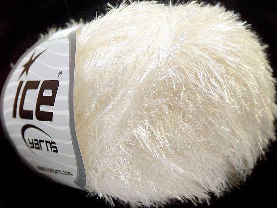 white lurex ice yarns short eyelash yarn sale by turkishmarket, $4.00