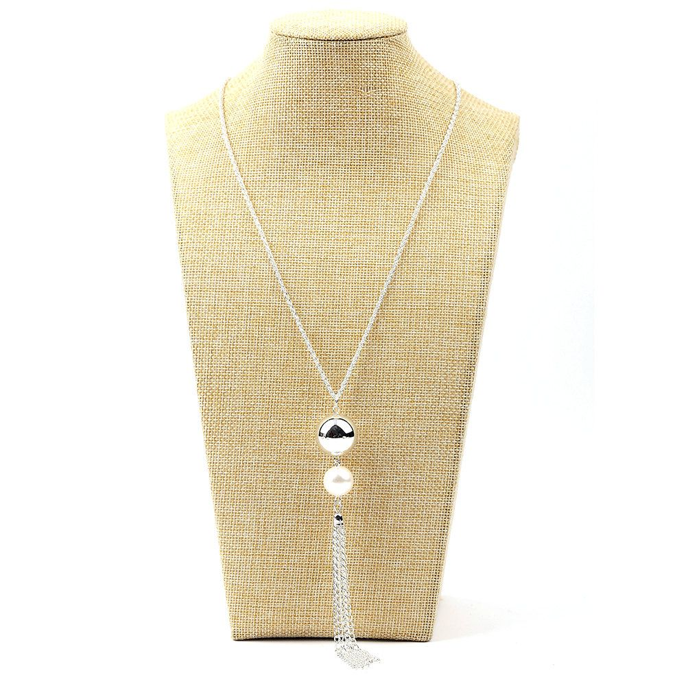 Long silver tassel necklace with pearl accent by ewellsboutique on