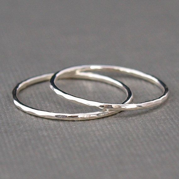 Thin Sterling Silver Rings set of two bands , Hammered Rings ...