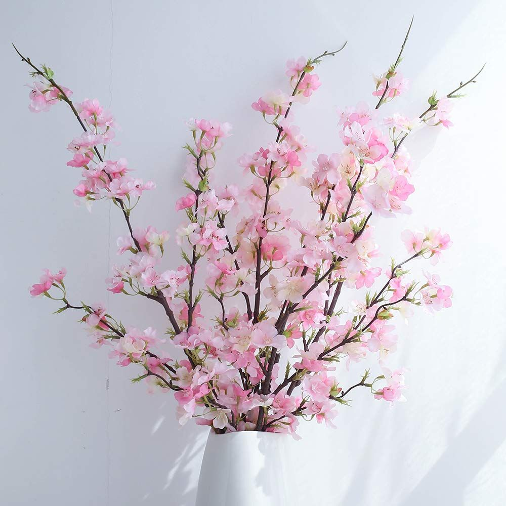 Yibelaat Cherry Blossom Artificial Flowers 4pcs Silk Cherry Blossom Branches Tall Fake Peach Cherry Blossom Decor Flower Arrangement For Ome Wedding Decoration Fake Flower Arrangements Artificial Cherry Blossom Tree Fake Flowers