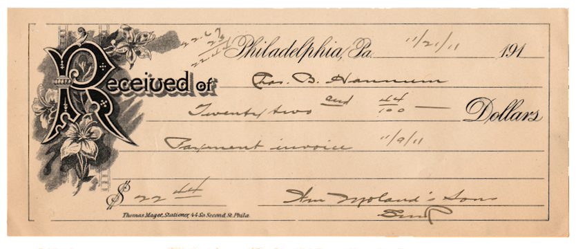 Fuel Receipt Template Word Free Antique Ephemera Graphic   Invoice  Ephemera Blog  Basic Invoice Pdf with What Is A Paypal Invoice Word This Is Really Pretty Invoice From Philadelphia Its Dated  And Has  Wonderful Old Fashioned Quick Invoice Template Excel