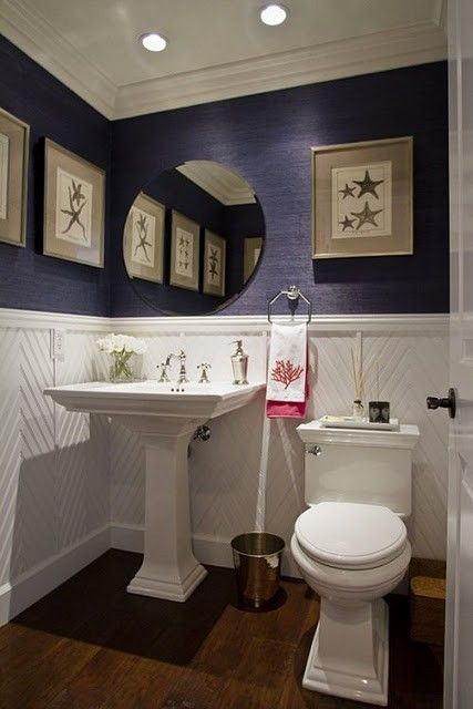 Small half bath powder room navy grasscloth small home for Powder blue bathroom ideas