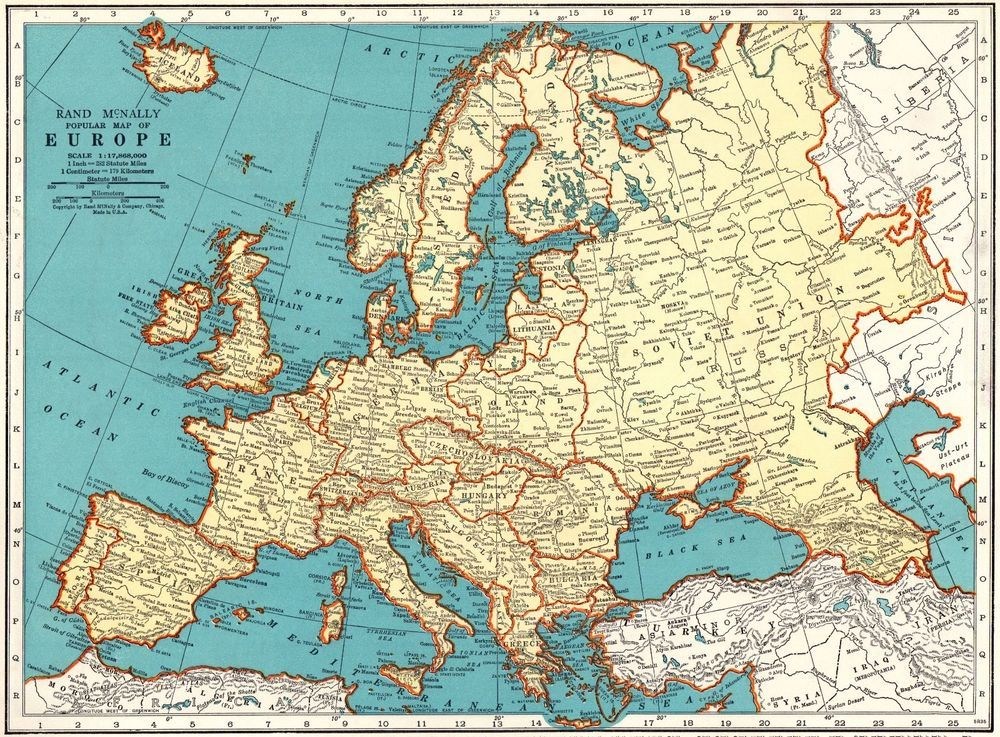 1930s Map Of Europe.1937 Vintage Europe Map 1930s Collectible Map Of Europe Gallery Wall