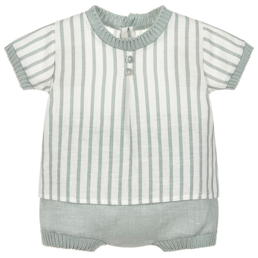 7008615f2 Baby boys cute green and ivory shorts and top set by Mebi. Made from ...