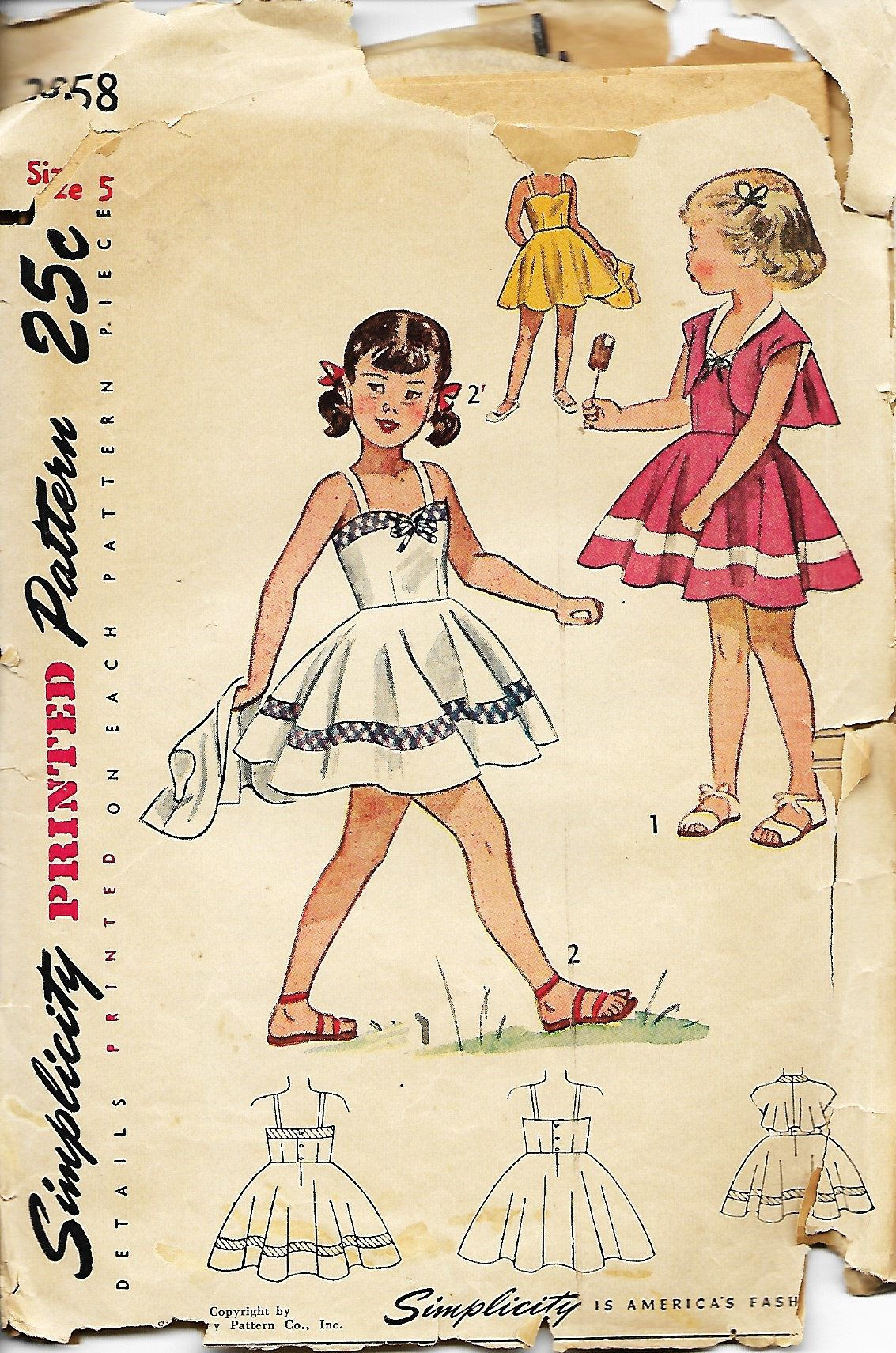 1940s Simplicity 2858 Child's Sunback Dress And Bolero ...