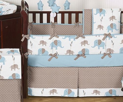 Elephant Bedding For Nursery Blue Brown Baby Crib Set Boy Room Collection
