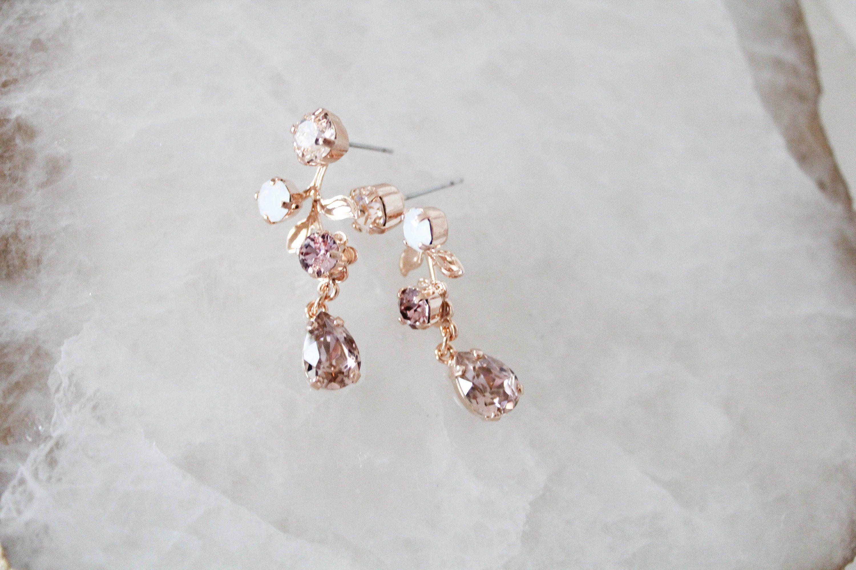 Rose Gold Bridal Earrings Swarovski Crystal Drop Earrings Bridal Jewelry Blush Pink Crystal Earrings Wedding Earrings Bridesmaid Earrings In 2020 Rose Gold Bridal Earrings Swarovski Crystal Earrings Bridal Bridal Earrings Drop