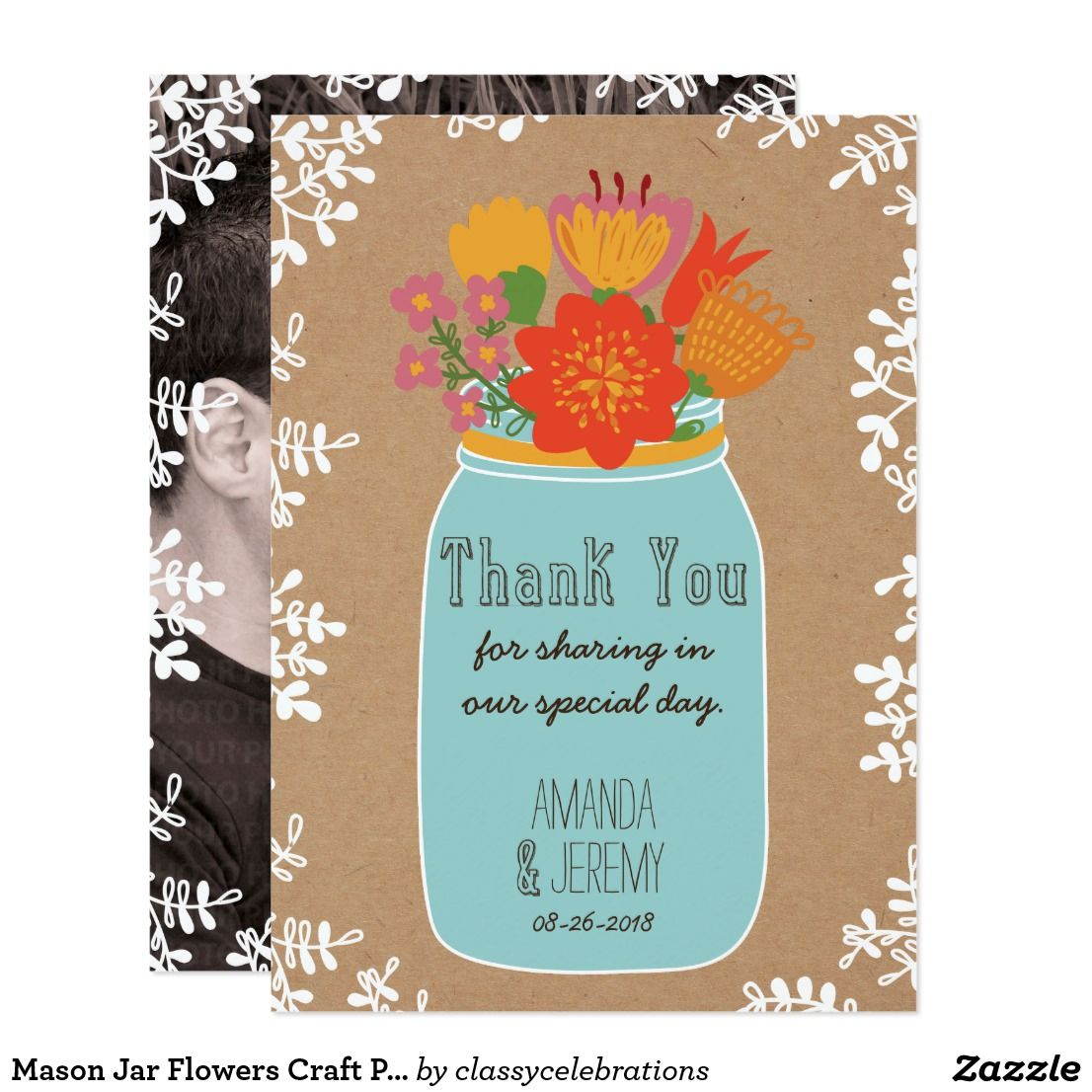 Mason jar flowers craft paper thank you photo