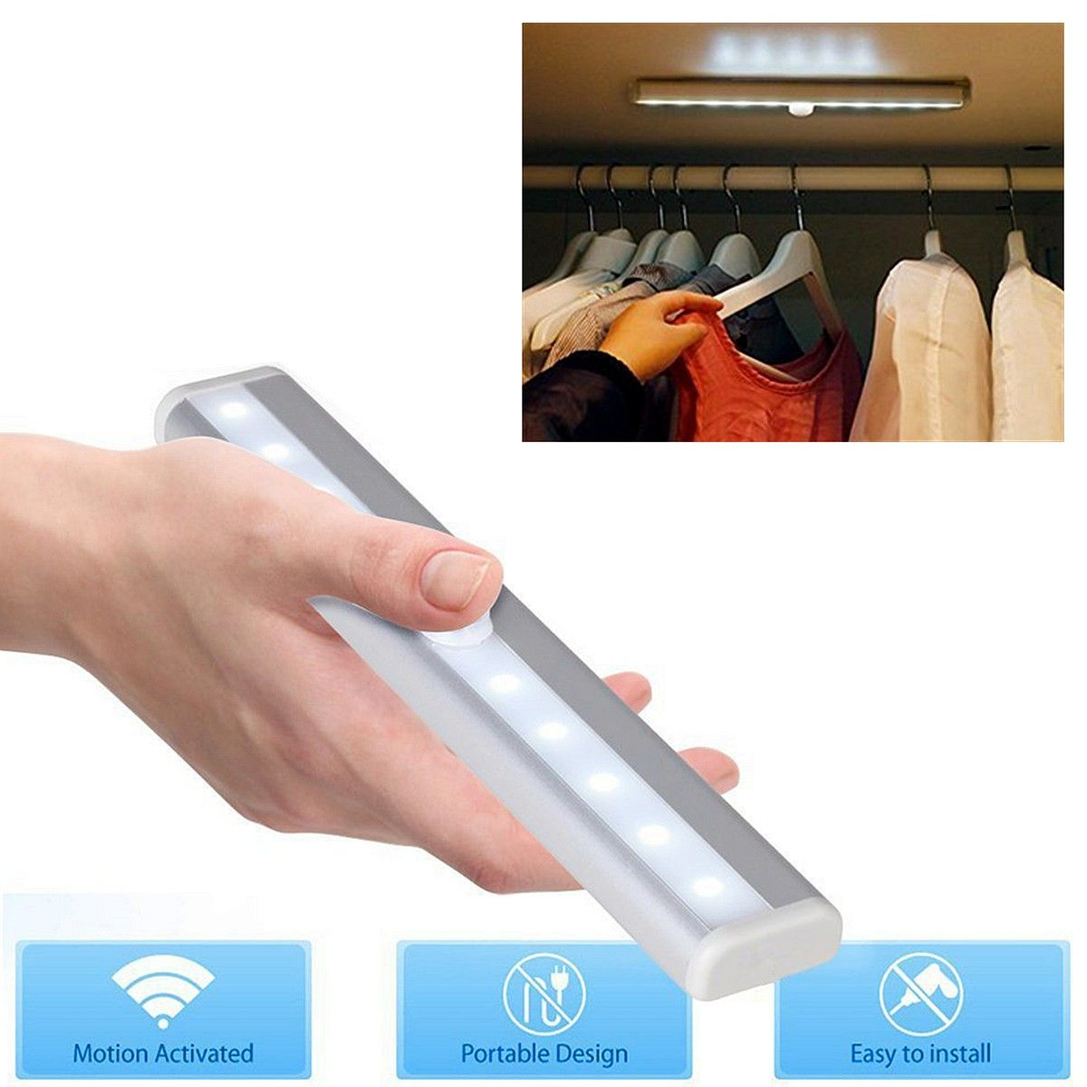 Battery Powered Super Bright 10 Led Cabinet Drawer Night