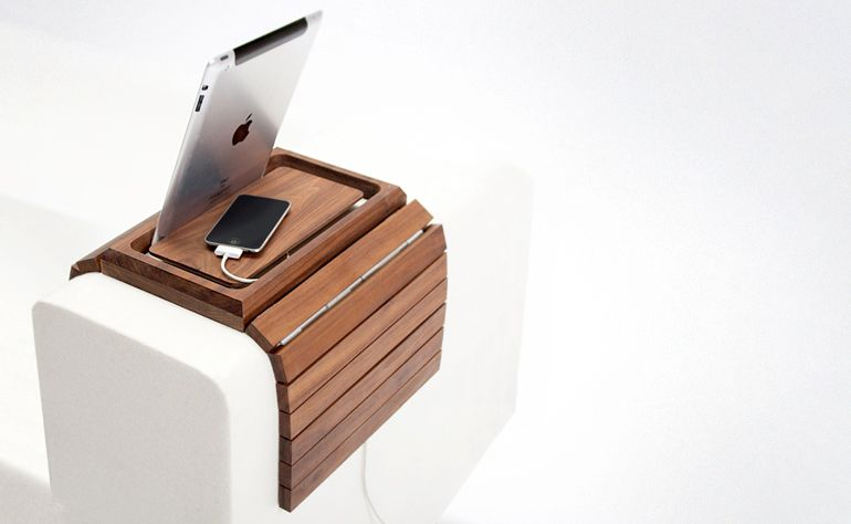 Awesome Embrace Sofa Arm Organizer Ipad Stand And Iphone Charger Home Interior And Landscaping Elinuenasavecom