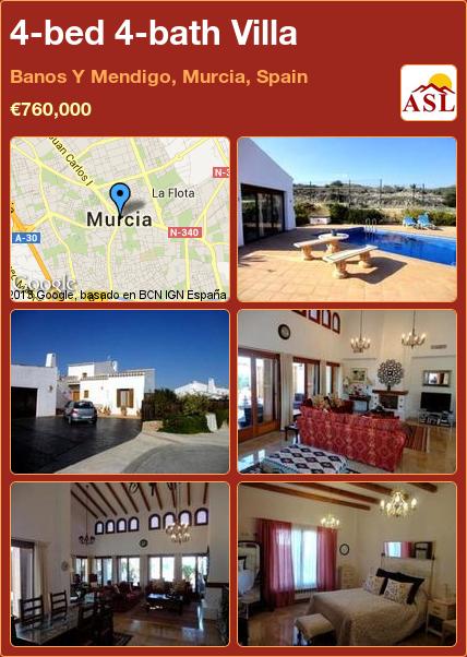 4-bed 4-bath Villa in Banos Y Mendigo, Murcia, Spain ►€760,000 #PropertyForSaleInSpain