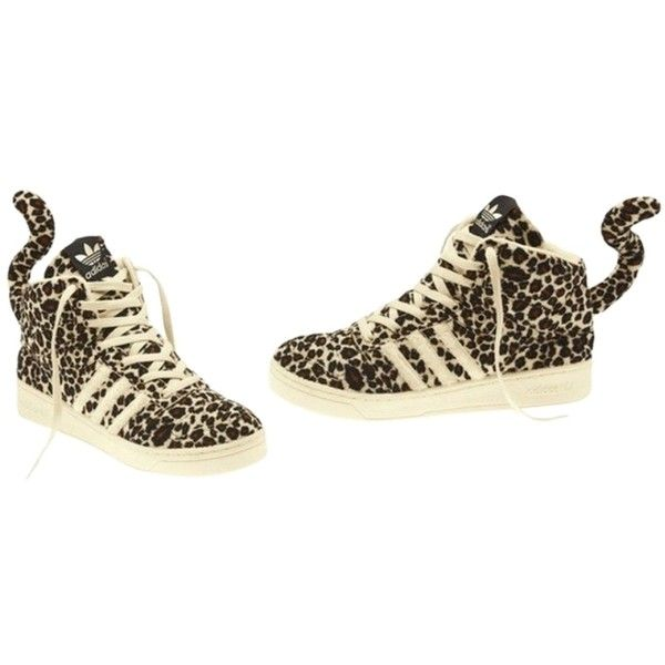 9c13d812d1f0 Pre-owned Jeremy Scott X Adidas Adidas Leopard Athletic Shoes ( 160) ❤  liked on Polyvore featuring shoes