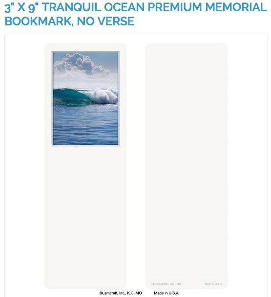 """Create laminated memorial bookmarks with Lamcraft's 3"""" x 9"""" Tranquil Ocean Premium Memorial Cards"""