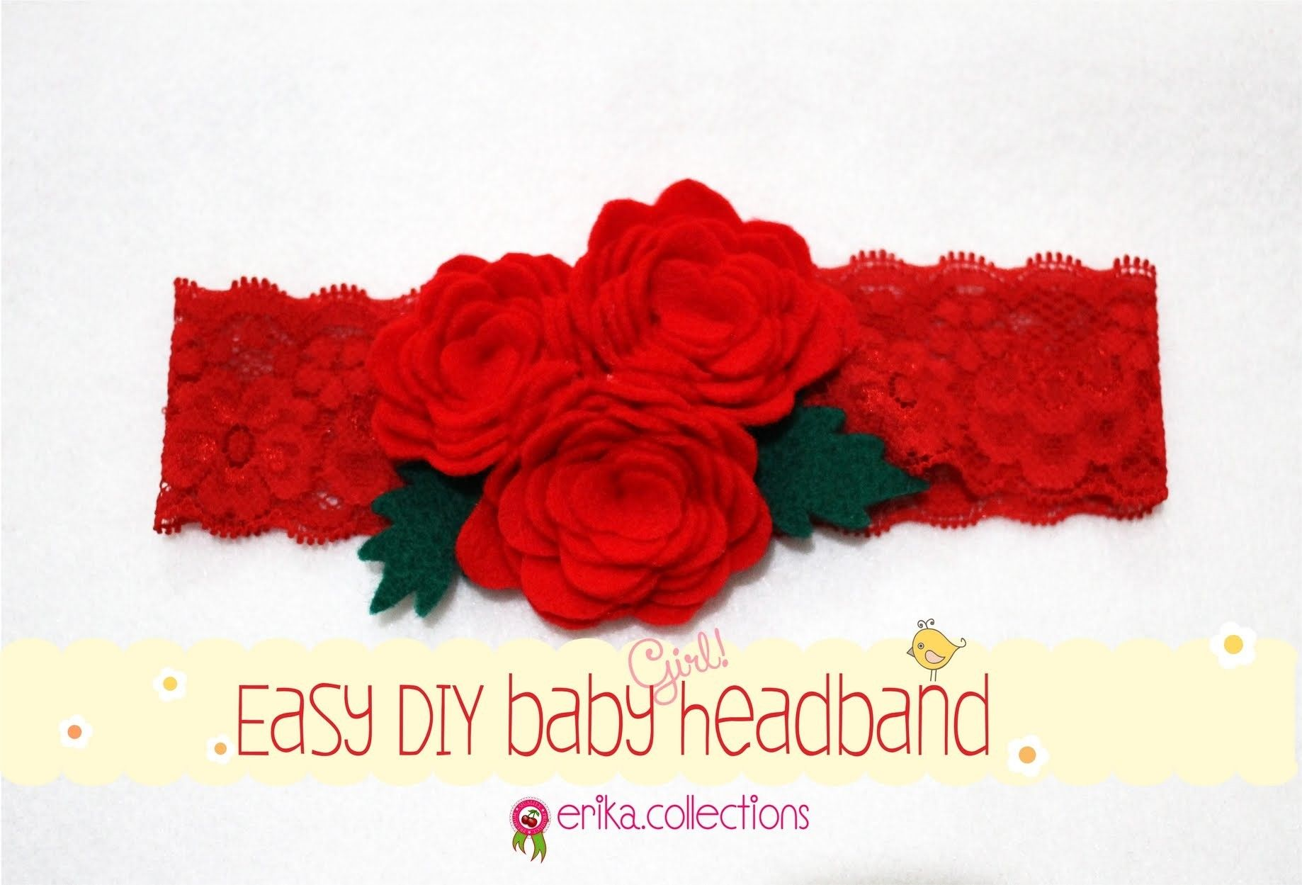 Easy DIY Baby Headband Tutorial [Redrose] - Erika Felt. Flanel Craft #babyheadbandtutorial