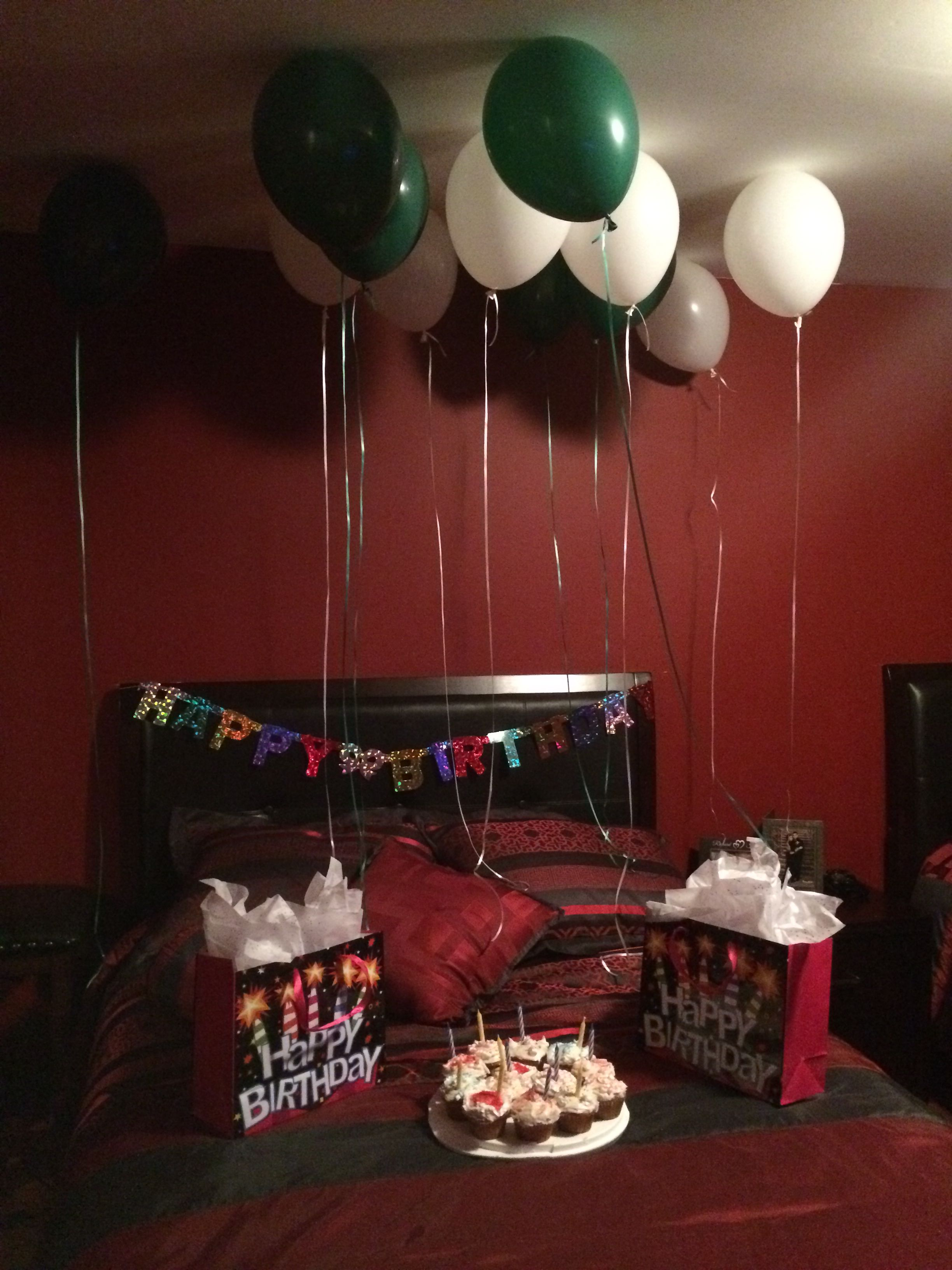 Made Cupcakes Got Balloons And His Presents To Use Them As Decoration In Room Also Birthday