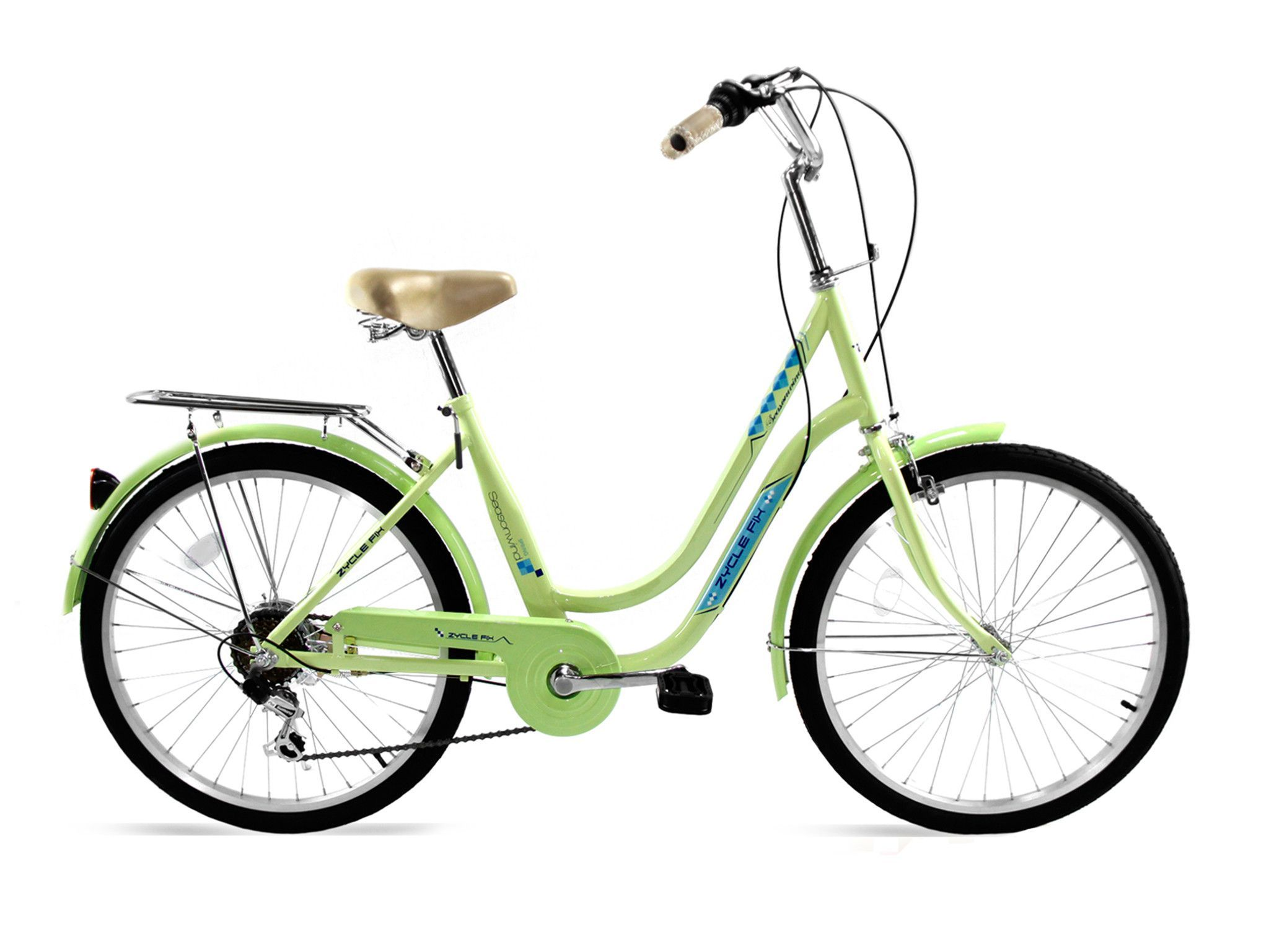 Zycle fix 24 city commuter bike shimano 6 speed lime green