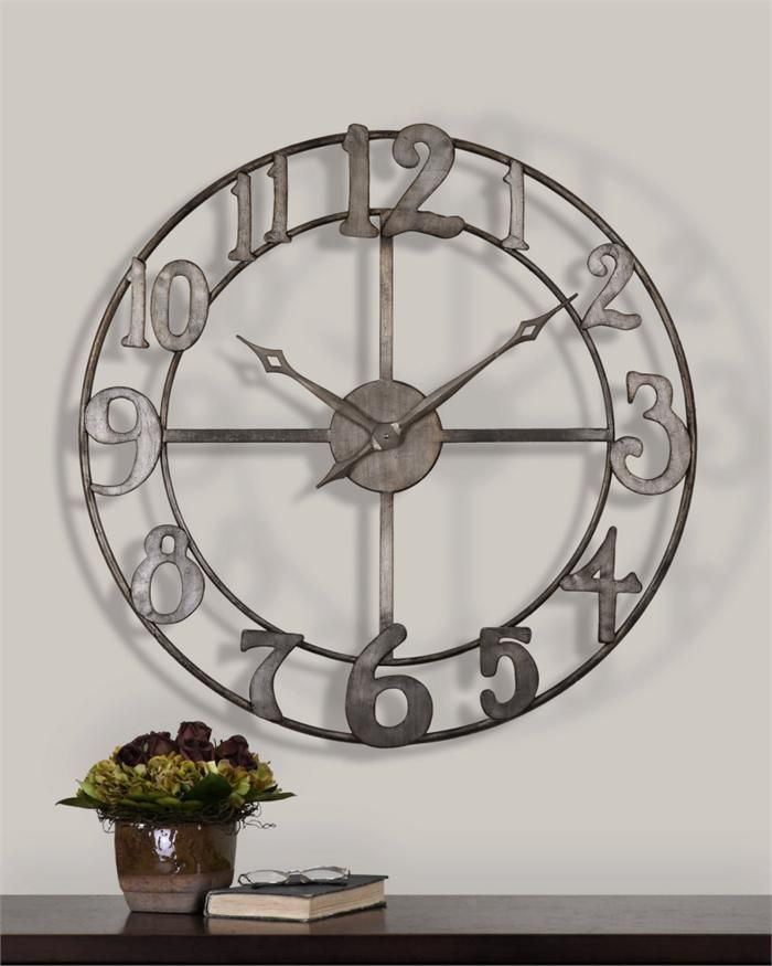 Extra Large Distressed White Metal Roman Numeral Clock Roman